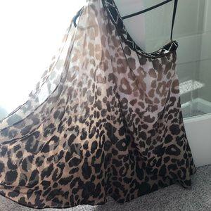 Bebe one shoulder leopard dress XXS
